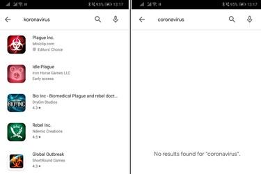 Google poisti koronavirukseen viittaavat hakutulokset sovelluskaupasta
