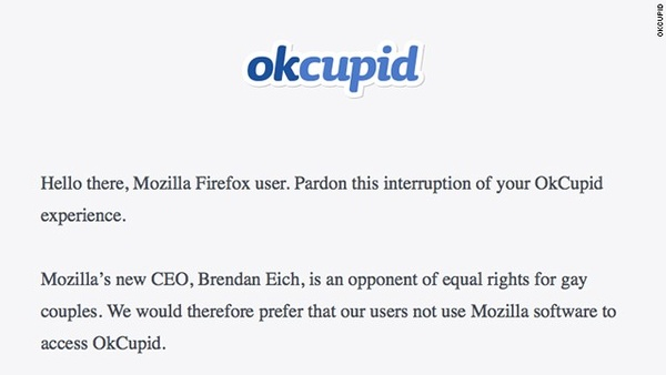 OkCupid takes strong stance against Mozilla and its new CEO