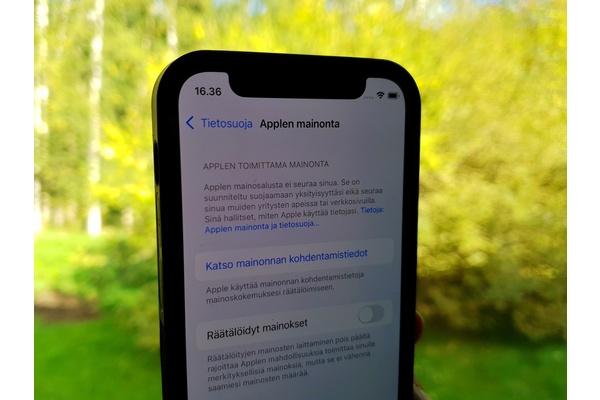 iOS 15 -version myötä Apple kysyy lupaa kohdennettuun mainontaan
