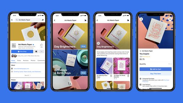 Kaupankäynti suoraan Facebookin alustoilta iso osa tulevaisuutta - Facebook Shops -palvelun avulla yritys voi perustaa verkkokaupan Facebookiin ja Instagramiin