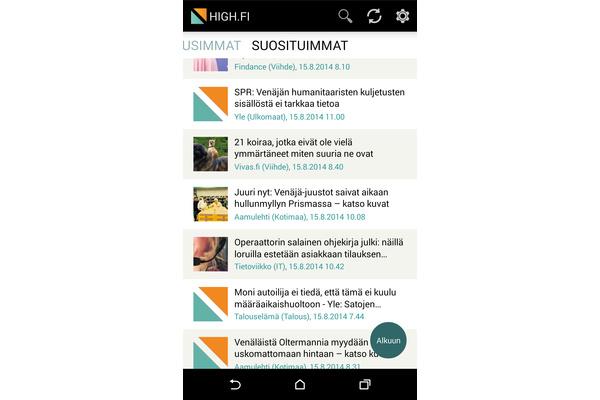 Androidin HIGH.FI Uutisvahti päivittyi: Parempi kuin Ampparit