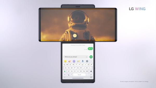 LG julkaisi erikoisen Wing-puhelimen: kääntyvän näytön alla toinen näyttö