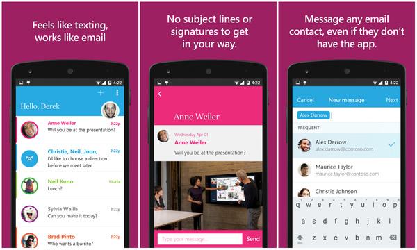 Microsoftin sähköpostin ja pikaviestimen yhdistelmä julkaistiin Androidille