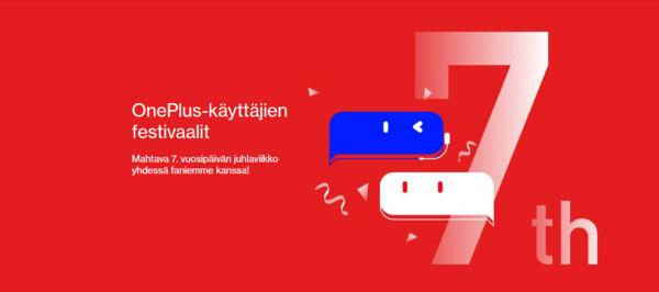 OnePlus viettää 7. vuosipäivää: tarjouksia puhelimista ja lisätarvikkeista