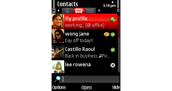 Ovi Contacts 1.5 toi tuen ponnahdusilmoituksille
