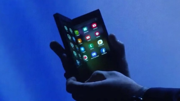 Samsung showcases a foldable phone on stage