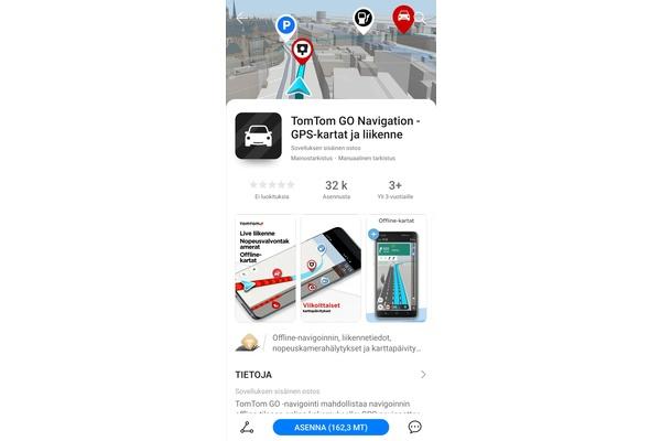 Karttapalvelu TomTom Go Navigation saapui Huawein AppGallery -sovelluskauppaan