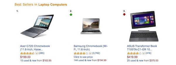 Chromebooks take top spots on Amazon's top-selling notebooks list