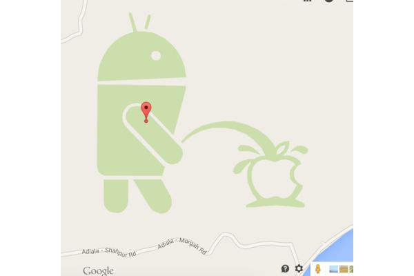Google Maps -löydös naurattaa: Android kastelee Applea virtsalla