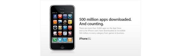 Applen App Storesta ladattu yli 500 miljoonaa ohjelmaa