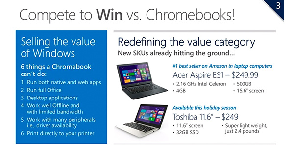 Microsoft sees Chromebook competition and will sell Windows laptops at under $250