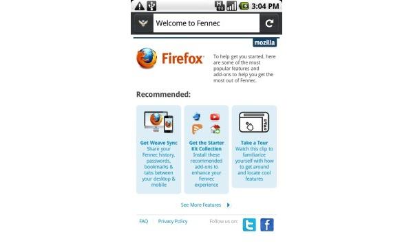 Androidin Firefoxista julkaistiin testiversio