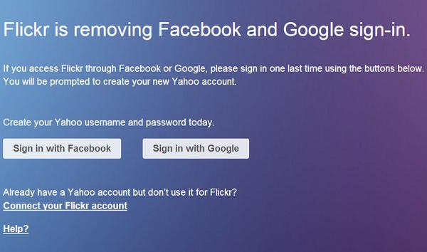 Flickr dumps Google, Facebook logins and demands Yahoo account instead