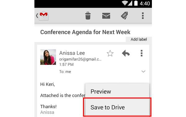 Androidin Gmail-sovellukseen merkittävä päivitys