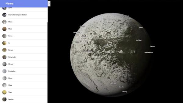 Google Mapsiin lisättiin muita planeettoja ja avaruuden kohteita