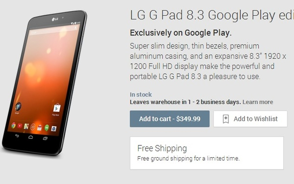 LG G Pad 8.3 gets a Google Play Edition