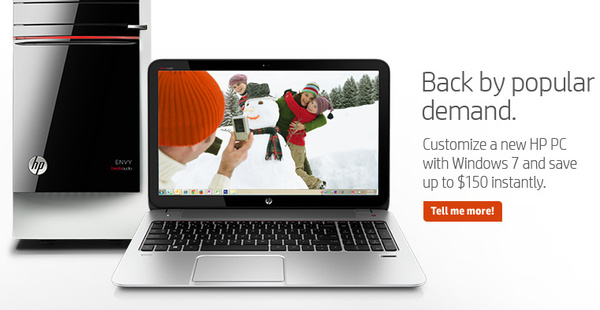 HP to prominently sell PCs with Windows 7, with the OS 'back by popular demand'
