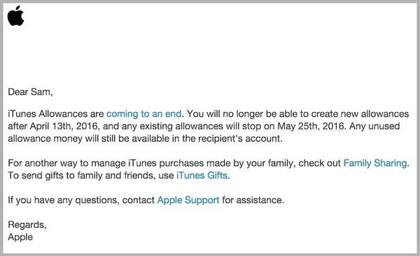 Apple ending 'iTunes Allowances' next month