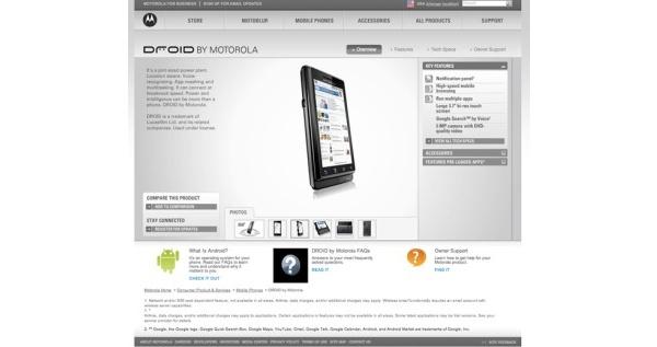 Odotettu Droid vilahti Motorolan sivuille ennen aikojaan