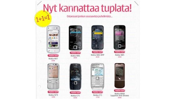 Nokian tuplauskampanja: osta puhelin - saat toisen kaupan päälle
