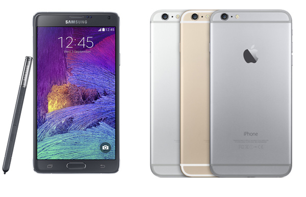 Vertailussa Apple iPhone 6 Plus ja Samsung Galaxy Note 4