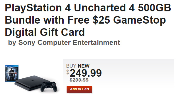PSA: $25 gift card included with cut-price PS4 Uncharted 4 Bundle at GameStop