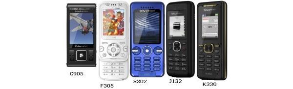 Sony Ericsson julkisti viisi puhelinta