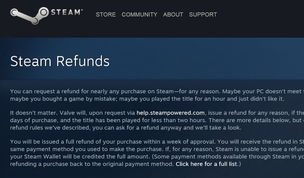 Following years of complaints, Steam updates refund policy