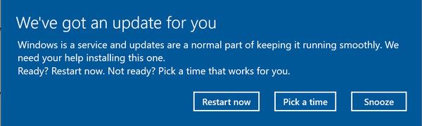 Windowsiin odotettu ominaisuus: Päivityksille torkkunappi!