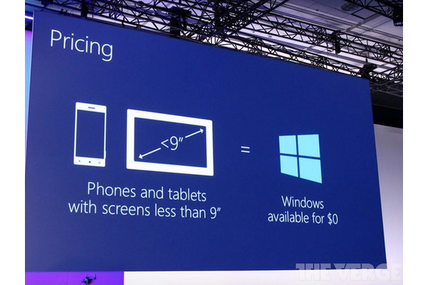 Microsoft: Windows is now free for all devices with screens smaller than 9 inches