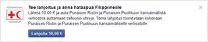 Facebook tukee Punaisen Ristin hätäapua Filippiineille