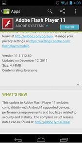 Android 4.0 now supports Flash