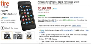 Good deal alert: Amazon slashes price of Fire Phone to $199, GSM unlocked, with a free year of Prime