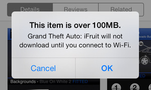 Apple raises limit for non-Wi-Fi app store downloads to 100MB