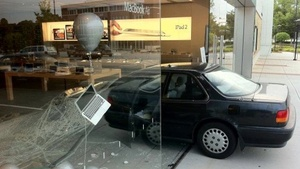 'Ninja' smashes car through Apple Store, escapes