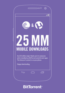 BitTorrent mobile users hit 25 million
