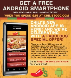 Chili's restaurant offering free Android phones with contract