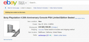 Limited 20th anniversary PS4s selling for thousands on eBay