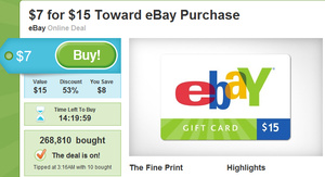 Daily Deal: $15 eBay gift card for $7 on Groupon