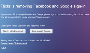 Flickr dumps Google, Facebook logins and demands Yahoo account instead