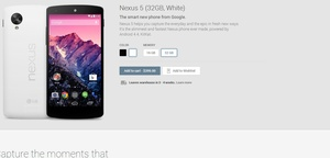 Brand new Google Nexus 5 already on backorder of at least two weeks