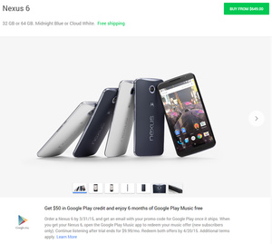 Google offers $50 in Google Play Store credit for new Nexus 6, 9 and Android Wear purchases