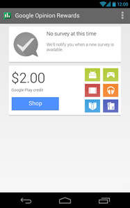 Google survey app pays Google Play credits to users