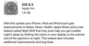 Apple iOS 9.3 adds 'Night Shift' to reduce blue light eye strain