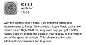 Apple iOS 9.3 adds 'Night Shift' to reduce blue light eye strain