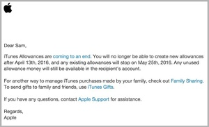 Apple ending 'iTunes Allowances' next month
