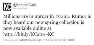 Kenneth Cole apologizes for outrageous tweet