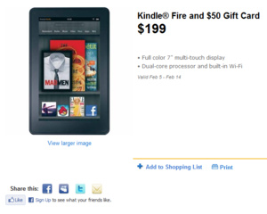 Head's up: Kindle Fire with $50 gift card from Wal-Mart for $199