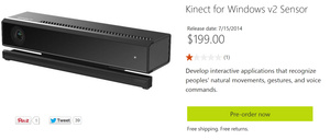 Microsoft Kinect for Windows v2 goes up for pre-order at $199, ships 7/15