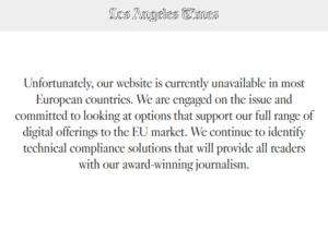 GDPR saapui, jenkkiläiset verkkosivustot sulkeutuivat eurooppalaisilta käyttäjiltä